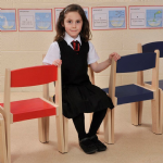 4 Pack  Stackable Classroom Chairs Orange H260mm